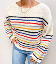 Load image into Gallery viewer, BEIGE RAINBOW SWEATER