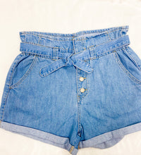 Load image into Gallery viewer, LIGHT DENIM PAPER BAG SHORTS