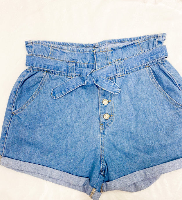 LIGHT DENIM PAPER BAG SHORTS