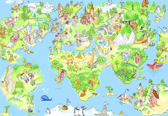Papermoon Kids World Map Vlies Fotobehang 250x180cm