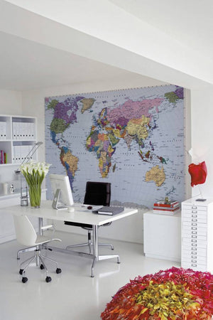 Komar World Map Fotobehang 270x188cm | Yourdecoration.nl