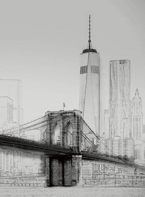 Wizard+Genius New York Art Illustration Black And White Vlies Fotobehang 192x260cm 4-banen | Yourdecoration.nl