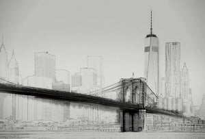 Wizard+Genius New York Art Illustration Black And White Vlies Fotobehang 384x260cm 8-banen | Yourdecoration.nl