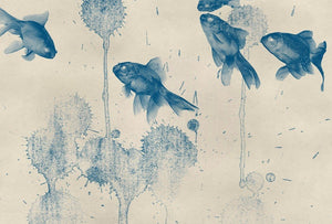 Wizard+Genius Blue Fish Vlies Fotobehang 384x260cm 8-banen | Yourdecoration.nl