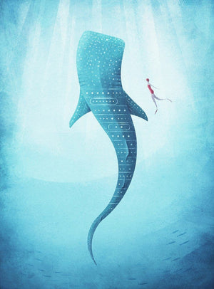 Wizard+Genius The Whale Shark Vlies Fotobehang 192x260cm 4-banen | Yourdecoration.nl