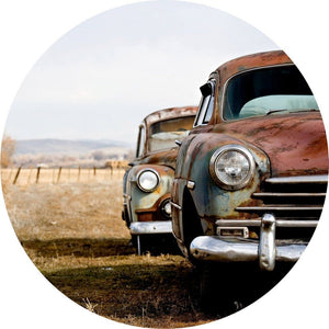 Wizard+Genius Old Rusted Cars Vlies Fotobehang 140x140cm rond | Yourdecoration.nl