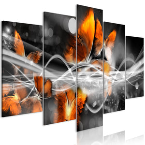 Artgeist Swarm of Butterflies Wide Grey Canvas Schilderij 5-luik | Yourdecoration.nl