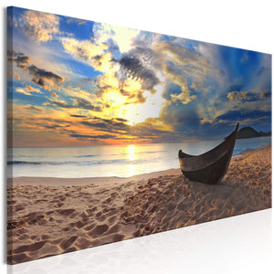 Artgeist Boat on the Beach Narrow Canvas Schilderij  | Yourdecoration.nl