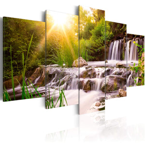 Artgeist Forest Waterfall Canvas Schilderij 5-luik | Yourdecoration.nl