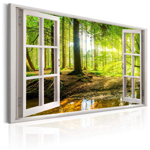 Artgeist Window View on Forest Canvas Schilderij  | Yourdecoration.nl