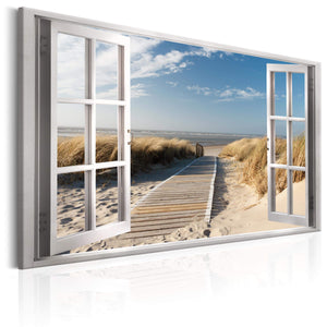 Artgeist Window View of the beach Canvas Schilderij  | Yourdecoration.nl