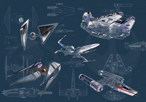 Komar Star Wars Blueprint Dark Vlies Fotobehang 400x280cm 8-banen | Yourdecoration.nl