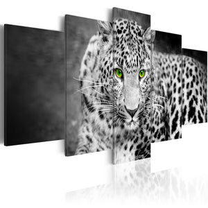 Artgeist Leopard Black and White Canvas Schilderij 5-luik | Yourdecoration.nl