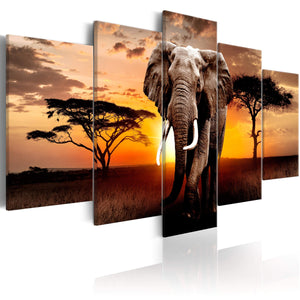 Artgeist Elephant Migration Canvas Schilderij 5-luik | Yourdecoration.nl