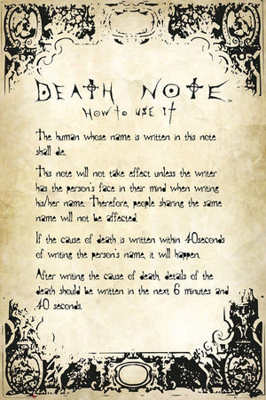 GBeye Death Note Rules Poster 61x91,5cm | Yourdecoration.nl