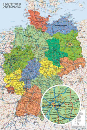 GBeye Germany Map Poster 61x91,5cm | Yourdecoration.nl