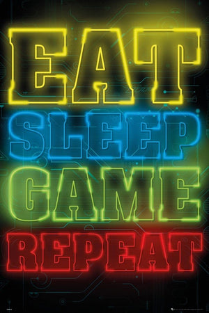 GBeye Gaming Eat Sleep Game Repeat Poster 61x91,5cm | Yourdecoration.nl