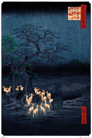 GBeye Hiroshige New Years Eve Foxfire Poster 61x91,5cm | Yourdecoration.nl