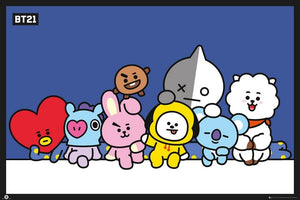 GBeye BT21 Group Blue Poster 91,5x61cm | Yourdecoration.nl