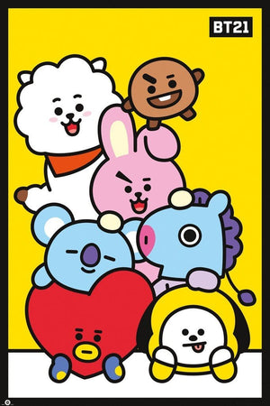 GBeye BT21 Pileup Yellow Poster 61x91,5cm | Yourdecoration.nl