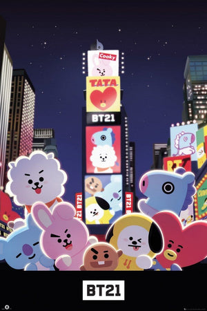 GBeye BT21 Times Square Poster 61x91,5cm | Yourdecoration.nl