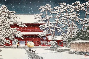 GBeye Kawase Zojo Temple in the Snow Poster 91,5x61cm | Yourdecoration.nl