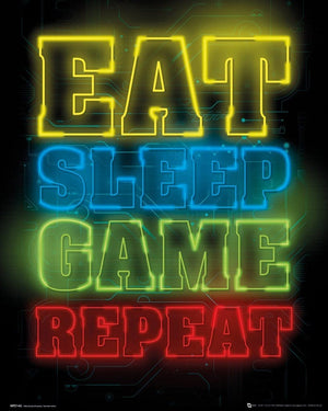 GBeye Gaming Eat Sleep Game Repeat Poster 40x50cm | Yourdecoration.nl