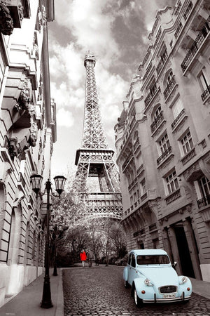 GBeye Paris Red Girl Blue Car Poster 61x91,5cm | Yourdecoration.nl