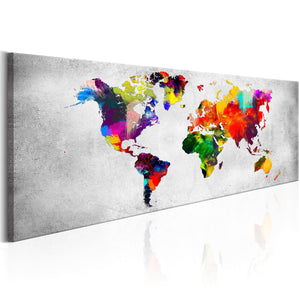 Artgeist World Map Coloured Revolution Canvas Schilderij  | Yourdecoration.nl