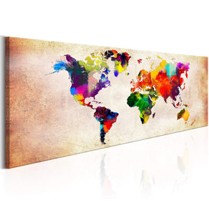 Artgeist World Map Colourful Ramble Canvas Schilderij  | Yourdecoration.nl