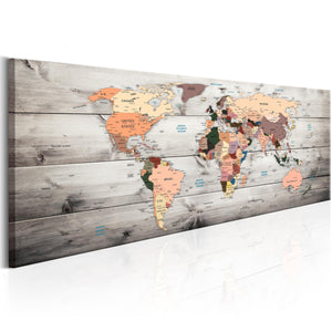 Artgeist World Maps Wooden Travels Canvas Schilderij  | Yourdecoration.nl