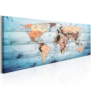 Artgeist World Maps Sapphire Travels Canvas Schilderij  | Yourdecoration.nl