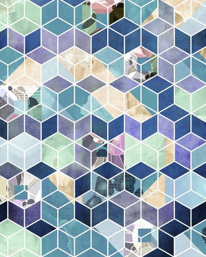 Komar Geometric Blue Vlies Fotobehang 200x250cm 2-banen | Yourdecoration.nl