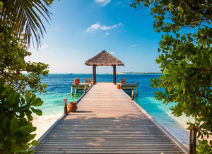 Papermoon Maldives Jetty Vlies Fotobehang 350x260cm 7-Banen | Yourdecoration.nl