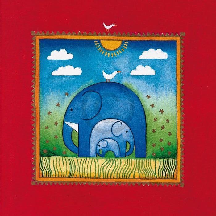 Linda Edwards - Three little elephants Kunstdruk 40x40cm