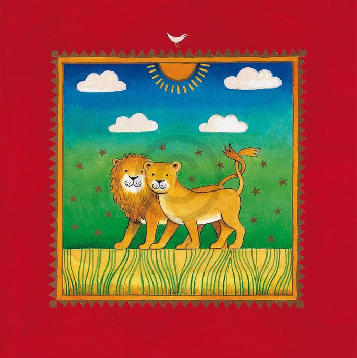 Linda Edwards - Two little lions Kunstdruk 40x40cm