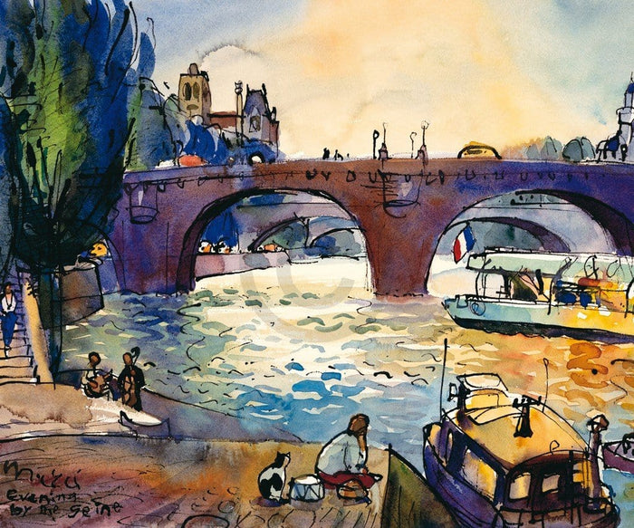 Michael Leu - Evening by the Seine Kunstdruk 60x50cm