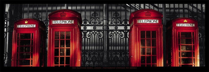 Stéphane Rey-Gorrez - London - Red Telephone Boxes Kunstdruk 95x33cm
