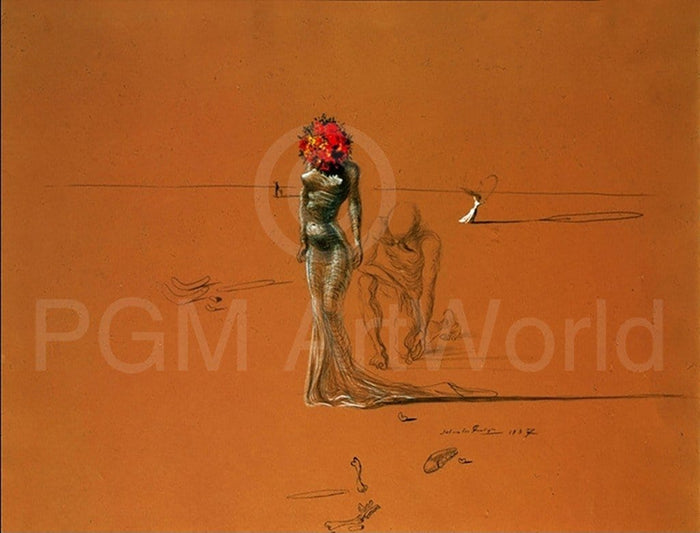 Salvador Dali - Female with Head of Flowers Kunstdruk 80x60cm