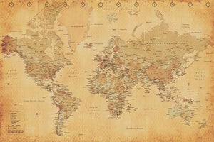 Pyramid World Map Vintage Style Poster 91,5x61cm | Yourdecoration.nl
