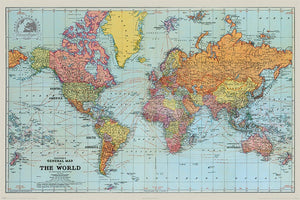 Pyramid Stanfords General Map of the World Colour Poster 91,5x61cm | Yourdecoration.nl