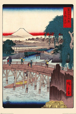 Pyramid Hiroshige Ichikoku Bridge In the Eastern Capital Poster 61x91,5cm | Yourdecoration.nl