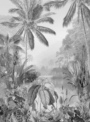 Komar Lac Tropical Black And White Vlies Fotobehang 200x270cm 2-banen | Yourdecoration.nl