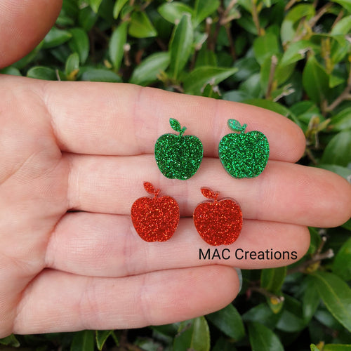 Red and Green Apple Glitter Stud Earrings
