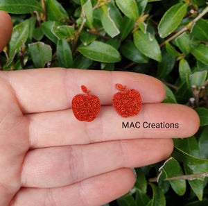 Red Apple Glitter Stud Earrings