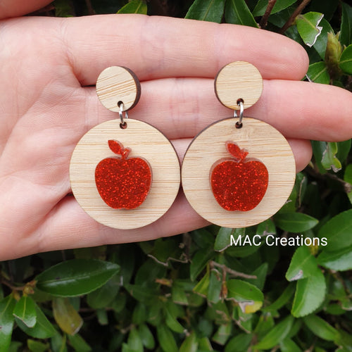 Red Apple and Bamboo Dangles