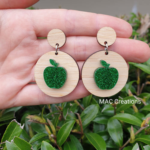 Green Apple and Bamboo Dangles