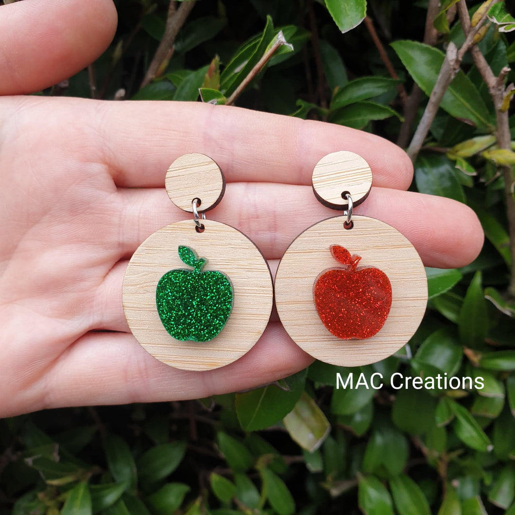 Red and Green Apple and Bamboo Dangles