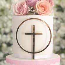 Load image into Gallery viewer, Cross in Circle Religious Cake Topper - MAC Creations Laser Co.