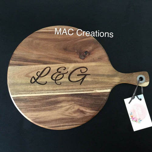 Initials Cheese Board - MAC Creations Laser Co.